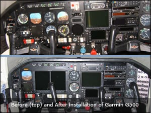 Before (top) and After installation of Garmin G500