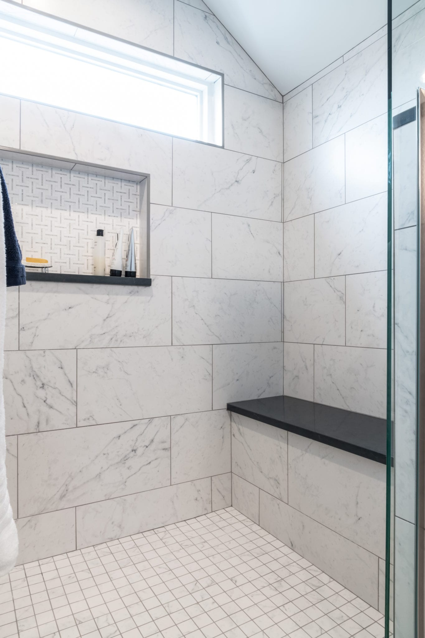 Shower Bench with Marble Tile